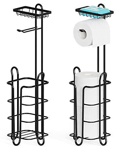 Toilet Paper Holder, Veckle 2 Pack Toilet Paper Holder Stand with Top Shelf Storage and 4 Rasied Feet Toilet Paper Storage for Bathroom Corner Floor, Black