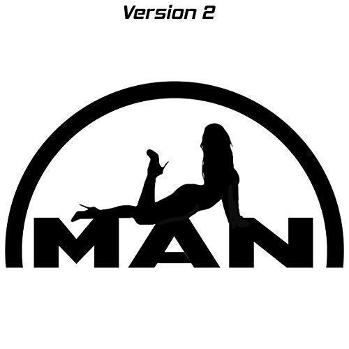 Generic Man Logo mit Sexy Girl Lady Mädchen Aufkleber Sticker 2 versch. Versionen (schwarz, Version 2)