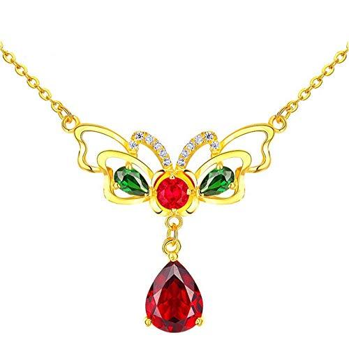 Roapk Vintage Butterfly Modeling Gemstone Necklace for Women Water Drop Shaped Ruby Silver 925 Jewelry