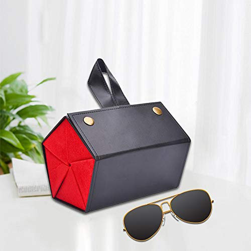 Sunglasses Case Women 5 Storage Space Sunglasses Tray Fashion Pu Leather Roll Eyeglasses Case for Glasses Storing Display Holder Sunglasses Organizer