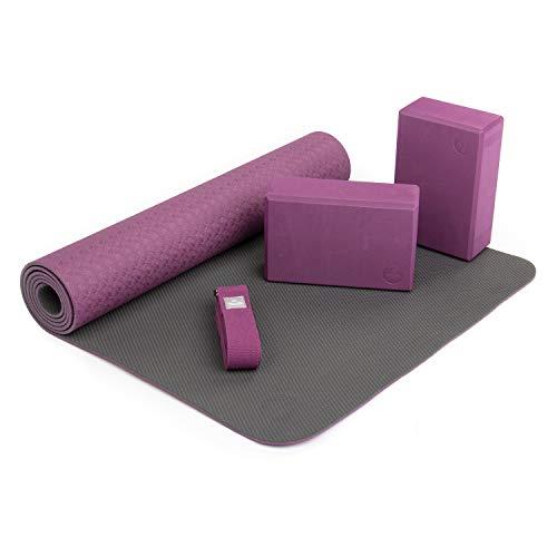 Bodhi Yoga-Set Flow, 1 Yogamatte aus TPE, 2 Yoga-Bricks aus Eva (Moosgummi), 1 Yoga-Gurt aus Baumwolle, Einsteiger-Set für Yoga-Anfänger (lila)
