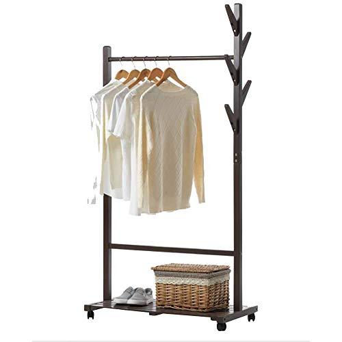 Perchero De Pie Perchero Tipo de árbol Soporte de exhibición de ropa multifuncional con piso de madera maciza con 5 ganchos y estantes de almacenamiento de ropa de 1 nivel for zapatos, marrón L32.67XW