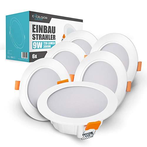 ExcelsiorLight – Premium Einbaustrahler – [9W/720lm/3000K/220-240V/IP54] – Warmweiß – [Ø12cm] – 6er Set ultraflache LED Deckenleuchte – [120° Abstrahlwinkel] – Wohnzimmer, Bad – [Energieklasse A+]