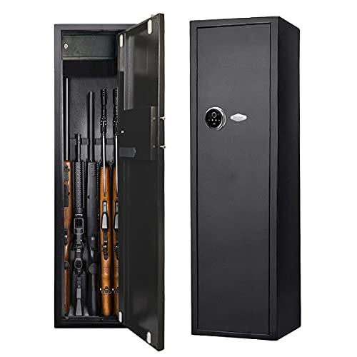 HIMAPETTR Biometrischer Tresor Waffenschrank, Munitionsschrank mit elektronischem Zahlenschloss, für 5 Langwaffen, Mit Schlüssel, Stahlprodukt, für Hause Sicherheit