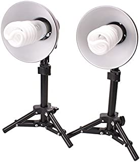 Fovitec - 2-Light Table Top Fluorescent Lighting Kit for Photo & Video with 15