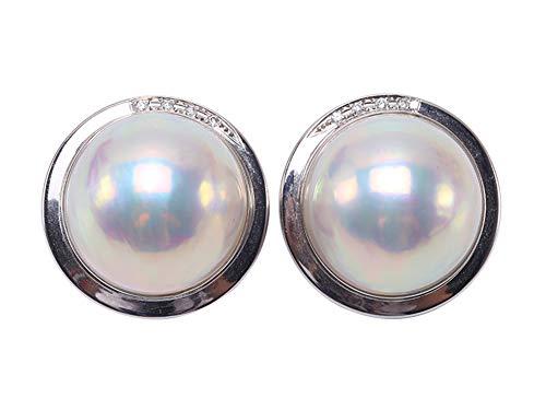 JYX Splendidi orecchini a clip in oro 18k con perle bianche da 20 mm