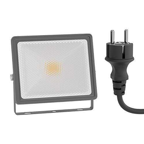 ledscom.de LED Außen-Strahler FLIN, Scheinwerfer, IP66 wasserfest, mit Stecker grau 10W 800lm warm-weiß
