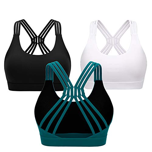 MOONMALLS Womens Padded Sports Bra Workout Running Activewear Yoga Cross Back Bras (US XS/S (FIT for 28A 28B 28C 28D 30A 30B), Black)