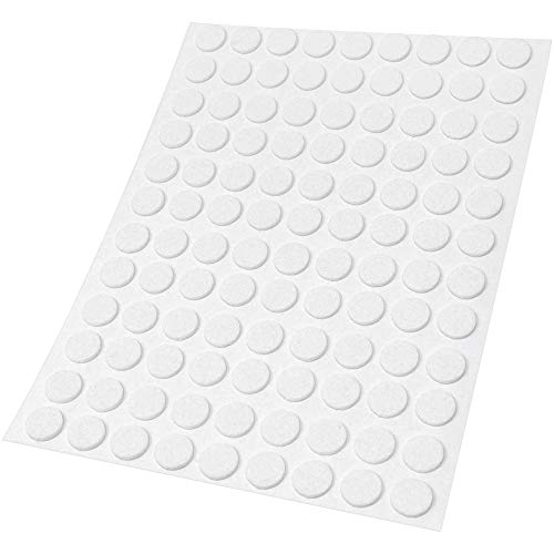 Adsamm® | 108 x Filzgleiter | Ø 10 mm | Weiß | rund | 1.5 mm dünne selbstklebende Filz-Möbelgleiter in Top-Qualität