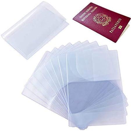 10pcs Funda de Pasaporte Transparente Cubierta de Pasaporte (13.3x18.8cm) Protector Pasaporte PVC Porta Pasaportes de Viajes Multi-Runuras Pack para Familia