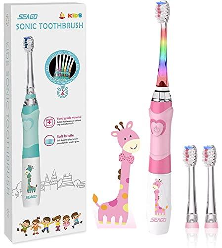 SEAGO Elektrische Zahnbürste Kinder ab 3-12 jahre Kinderzahnbürsten Elektrisch mit Farbigem Licht Smart Timer 3 Weich Bürstenköpfes Wasserdicht Baby Schallzahnbürste für Mädchen Jungen SG-977 (Rosa)