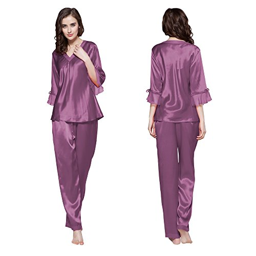 LilySilk Lavender Silk Pajamas for Women 100 Real Real Set V Neck 3/4 Long Sleeve 22 Momme Mulberry Silk Violet Size 0-2/XS