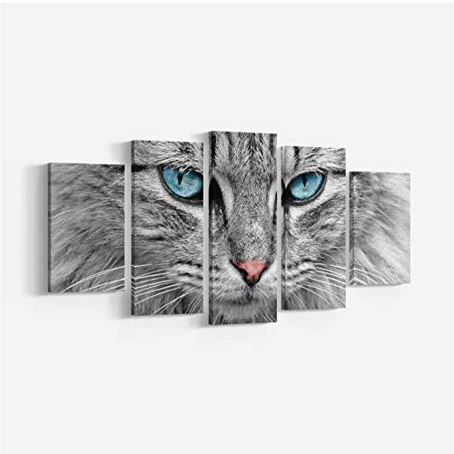 Lllyzz schilderijen op canvas, 5-delig, moderne kunst, kattenmotief, met blauwe ogen, canvas, muurschildering, kunstdruk, dierenprints op canvas, 150 x 80 cm