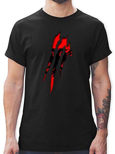 Länder Fahnen und Flaggen - Albanien Krallenspuren - L - Schwarz - albanien Krallenspuren Tshirt - L190 - Tshirt Herren und Männer T-Shirts