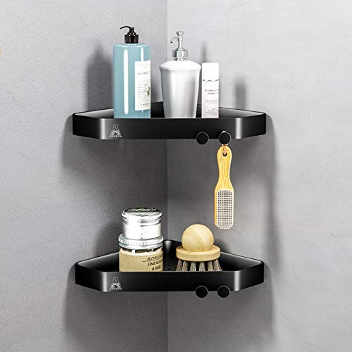 ANVAVA 2 Pcs Estantería de Baño Esquinero Estante Ducha ABS Material Estantería para Baño Ducha Cocina Hotel, Negro