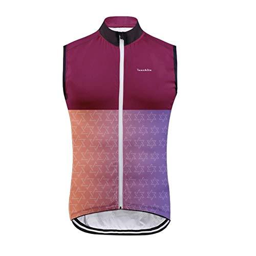 MoMo Pro Team Chaleco de ciclismo a prueba de viento 3 bolsillos transpirable verano sin mangas chaleco de viento ropa ciclismo Windstopper Maillot,Color 5,S