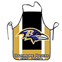 NiYoung Polyester Apron Kitchen Apron Extra Long Ties Women Men Chef Lady's Apron for Kitchen BBQ, Liquid Drop Resistant, Machine Washablen/Waterproof - Baltimore Ravens Football Team