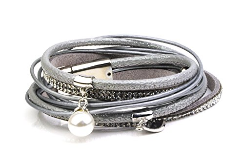Multi Strand Real Leather Bracelet with Diamantes, Silver beads and a Pearl UK
