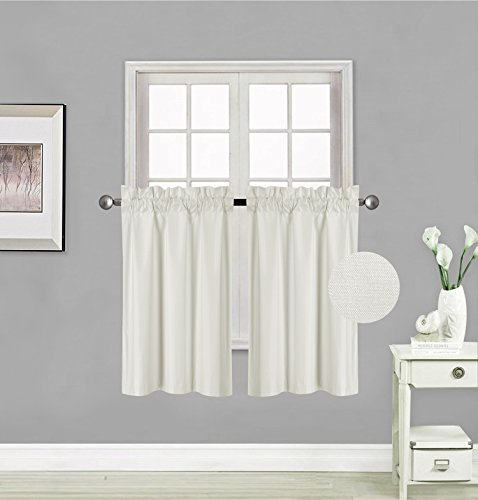 """Elegant Home 2 Panels Tiers Small Window Treatment Curtain Insulated Blackout Drape Short Panel 28"""" W X 36"""" L Each for Kitchen Bathroom or Any Small Window # R5 (Ivory)"""