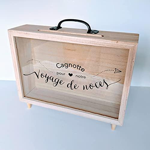 Urne mariage - Cagnotte mariage - Voyage de noces/Lune de miel - Cadeau de Mariage - Accessoire Mariage (Taille L)