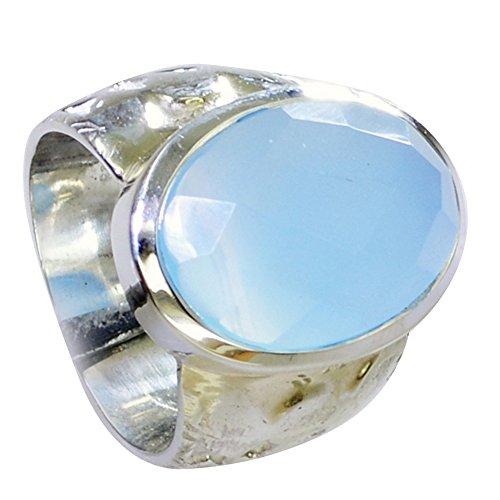CaratYogi echte Blaue Chalcedon Edelstein Ring Sterling Silber Lünette Stil ovale Form handgefertigt Größe 60 (19.1)