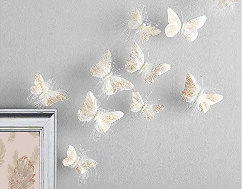 Inspired by Jewel Butterfly Wall Decorations Premium Quality Real Feather 3D Wall Decals Girls Bedroom | Stunning Gold Glitter Decor Stickers All Rooms & Nursery Sets | 10 Adhesive Pieces
