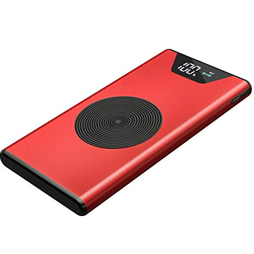QI Chargeur sans Fil 50000mAh Power Bank Batterie Externe LED 2 Chargeur Rapide USB (Rouge)