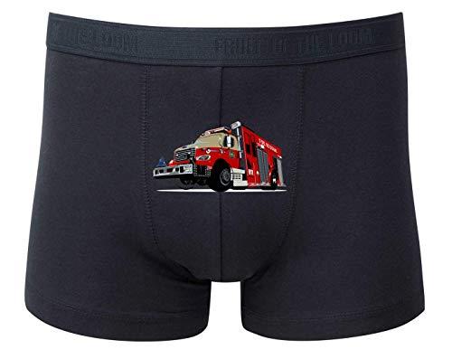 Druckerlebnis24 Boxershort - Feuerwehrfahrzeug Notruf Alarm Einsatz - Unterhose für Herren und Männer