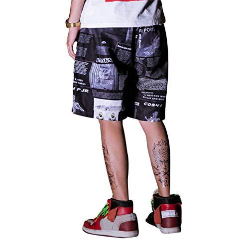 Irypulse Cargo Pantalones Cortos Hombre Bermudas Casual, Shorts Bermudas Carga Verano Moda Callejera & Urbana para Adolescentes y Niños, Estilo Hip Hop con Cartel/Letras Impresas - Diseño Original