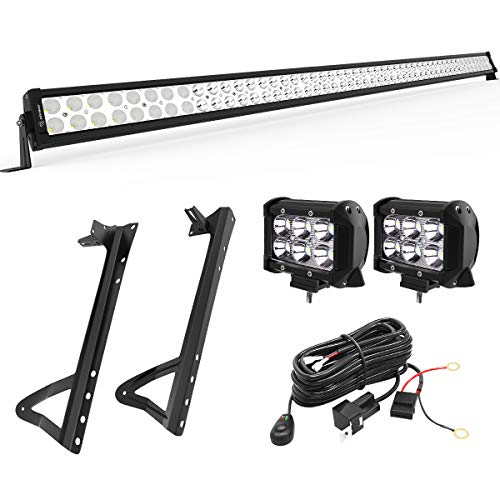 YITAMOTOR 52 Inch LED Light Bar + 2X 18W 4 Inch Spot Fog Light Pods+ Mounting Bracket with Wiring Harness for 07-15 JEEP JK