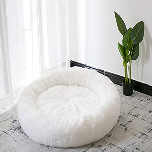 Monba Deluxe Haustierbett Weichem Kissen Bett Orthopädisches Hundebett Plüsch Hundesofa in Doughnut-Form für Mittelere Groß Hunde und Katzen-100cm-Weiß