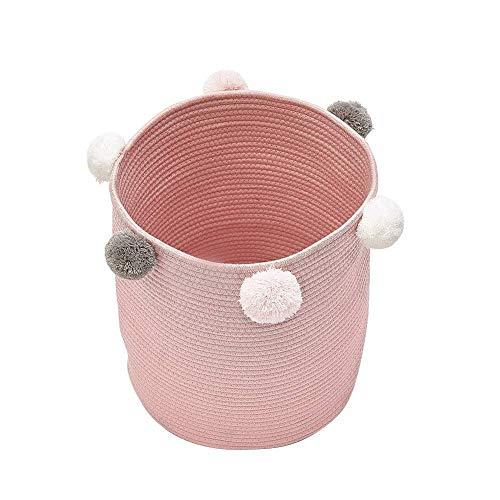 Natuurlijke katoenen draad geweven touw opslag mand Bin Hamper Baby speelgoed containers luiertas met Pom Poms voor kwekerij Kid's kamer opslag roze