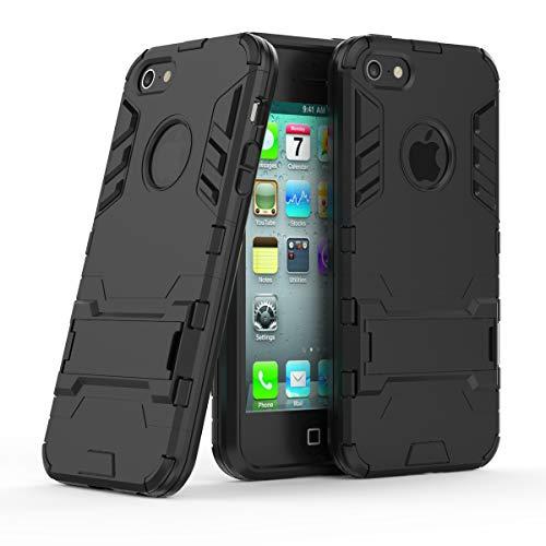 Cocomii Iron Man Armor iPhone SE/5S/5C/5 Custodia, Sottile Magro Opaco Kickstand Verticale & Orizzontale Rinforzata Case Bumper Cover Paraurti Compatible with Apple iPhone SE/5S/5C/5 (Jet Black)