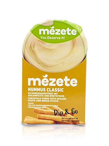 Mezete Hummus Dip & Go, Classic mit knusprigen Brotsticks, Ideal für unterwegs, helle und cremige Konsistenz, vegan und halal, (1 x 92 g)