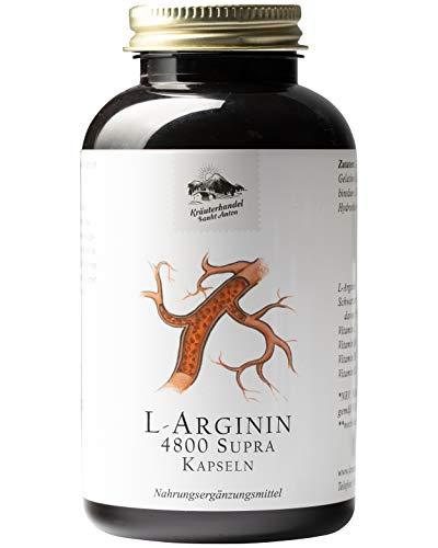 KRÄUTERHANDEL SANKT ANTON® - L-Arginin 4800 Supra Kapseln - 60 mg L-Arginin - Hochdosiert - Arginin Base und HCL - Vitamin C - Deutsche Premium Qualität (300 Kapseln)