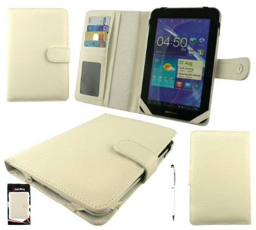 Emartbuy® Weiß Doppelfunktion Stylus + Universalbereich Weiß Basic Hülle Cover Tasche Hülle Schutzhülle Wallet mit Kartensteckplätze Geeignet für Odys Connect 7 Inch Tablet Phone