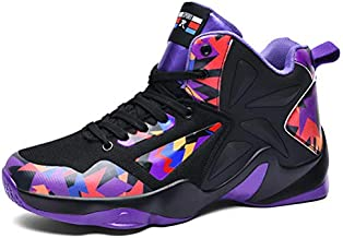 WILTENA Womens Non Slip Basketball Shoes Mens Breathable Streetball Sneakers Gym Fitness Sports Shoes for Outdoor Workout Black Size 5.5w/4m