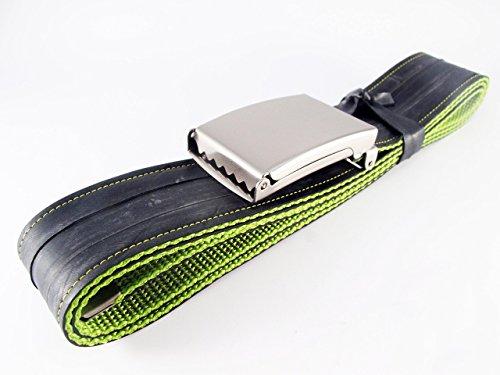Gürtel aus Fahrradschlauch - Handgenäht Upcycling Fahrrad Made in Germany (Grün)