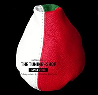 The Tuning-Shop Ltd For Fiat 500 Abarth 2007-2015 Shift /& E Brake Boot Black Italian Leather Red Embroidery Logo