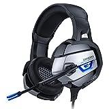 ONIKUMA Gaming Headset PS4, PC Kopfhörer mit Mikrofon, Rauschunterdrückung Surround Sound für PS5/Xbox One/PC/Nintendo Switch/PS4