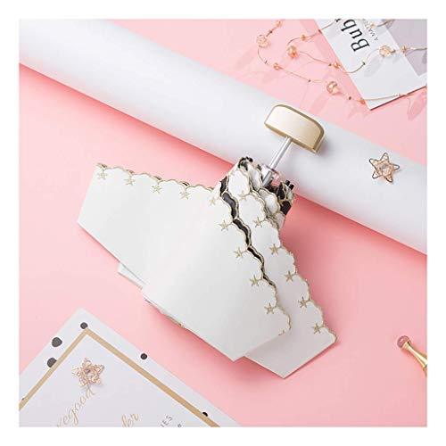 ZHENAO Ombrelloni Pieghevoli Ricamati Ombrellone Protezione Uv Femminile Ultraleggero Mini Tasca a Mezzaluna Ombrello Protezione Solare Ombrello Facile da trasportare Weiß
