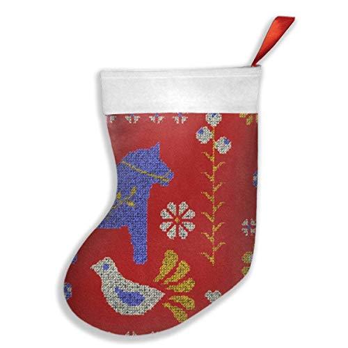 Medias de Navidad rojo popular escandinavo, calcetines para decoración de fiestas de Navidad, juguetes colgantes de árbol de Navidad, soportes para bolsas de regalo para niños