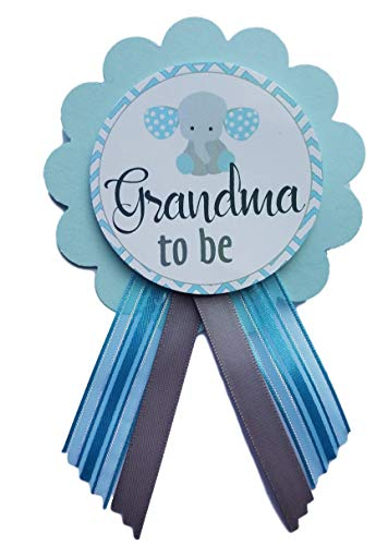 Grandma to Be Pin Elephant Baby Shower It's a Boy for parents to wear, Blue & White, It's a Girl Baby Sprinkle