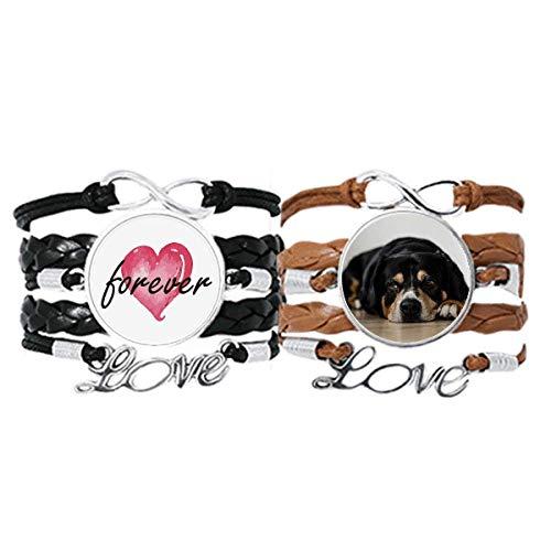 DIYthinker Perro mascota animal fotografía piso foto pulsera correa de mano cuerda de cuero Forever Love pulsera doble conjunto