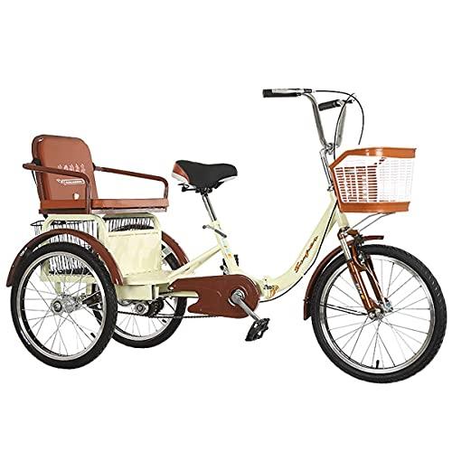 Triciclo de 20 Pulgadas Bicicleta Plegable para Adultos con Asiento Trasero y Cesta de la Compra Bicicleta de 3 Ruedas Suspensión de Cadena Doble de una Velocidad Carga de Horquilla Delantera