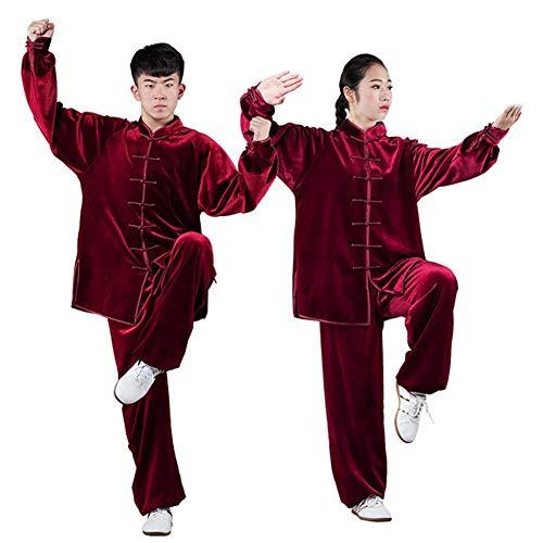 Uniformes Unisex Chinos Tradicionales De Tai Chi, Terciopelo De Otoño E Invierno Más Ejercicio Matutino Ropa De Tai Chi,Artes Marciales Wing Chun Shaolin Kung FuRed-M