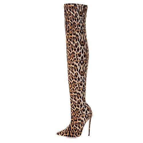 XSY Damen Stiefeletten Leopard, Mit Blockabsatz Frauen Klassischer Übergrößen Halbhöhe Keilabsatz Boots Reißverschluss Kurzschaft Muster Wildleder Stiefel,Braun,39