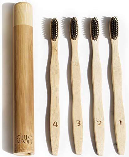 4 Pack Premium Bamboo Toothbrushes with Travel Case, Soft Charcoal BPA-free Infused Bristles for Sensitive Gums, Biodegradable ZeroWaste Plastic-free Packaging
