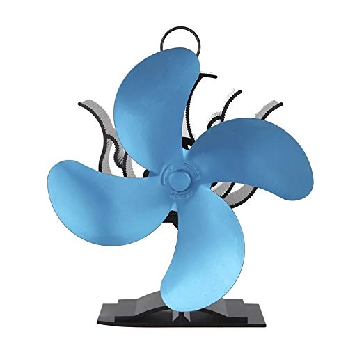 ZDAMN Ventilador de Chimenea Woodburner Chimenea Fan 4 Blade Heat Powered Wood/Log Burner Fan Ventilador de Guemador Pequeño (Color : Azul, Size : One Size)