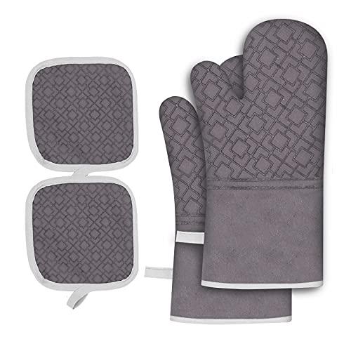 Ofenhandschuhe, Hitzebeständige Silikon Topfhandschuhe mit 2 Topflappen, rutschfeste Backhandschuhe für die Küche Kochen Backen Grillen BBQ (Grau)